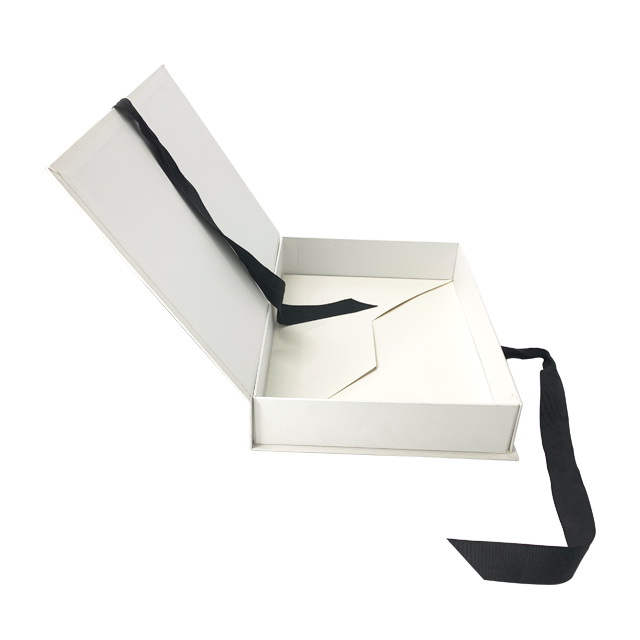 high quality luxury logo Custom black ribbon foldable cardboard box small for hair extention