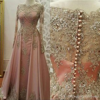 Long Sleeves Formal Dresses Evening Wear for Women Lace Appliques crystal Abiye Dubai Caftan Muslim Prom Party Gowns