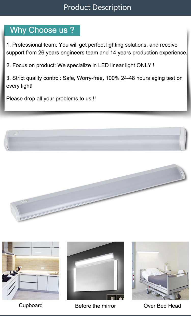 0.3m 0.6m 1.2m PCcover ON/OFF switch Hospital bed head downward wall light dimming sensor lounge LED linear ceiling lamp