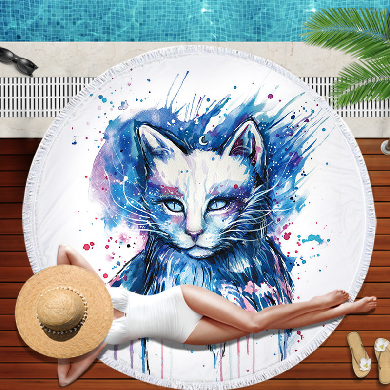 Custom 3D digital printing microfiber animal round beach towel sports towel with fringe