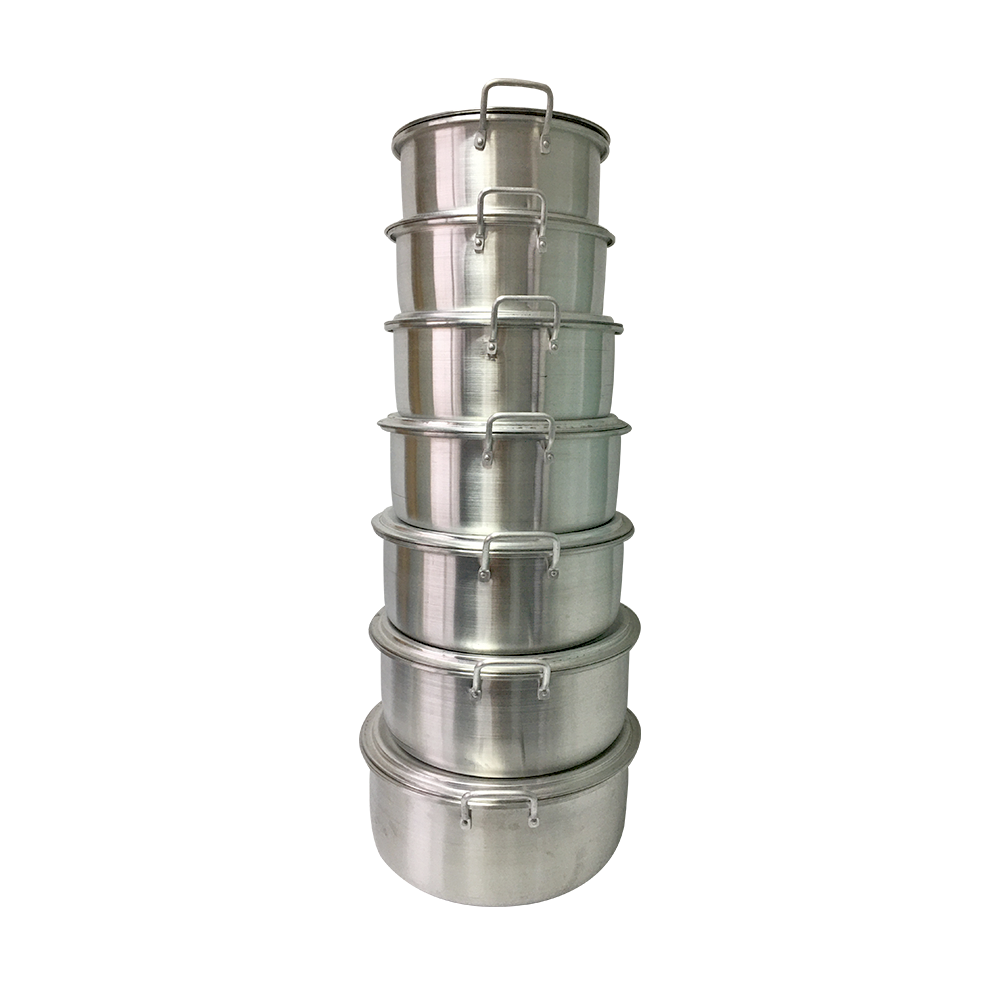 18/20/22/24/26/28/30/32cm 7 pcs  Household use aluminum cover cooking pot with double handle and various sizes  to Guinea