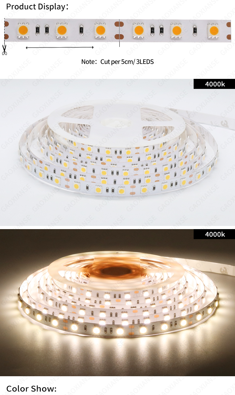 12V 5050 60LED/M 10MM IP20  Natural white 4000K CRI90 CRI95 CRI97 CRI98  LED Strip Lights strips led lights