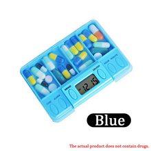 Интеллектуальная пластиковая коробка для хранения, 4 сетки, электронный таймер для напоминания о времени, медицинские коробки, будильник, т...(Китай)