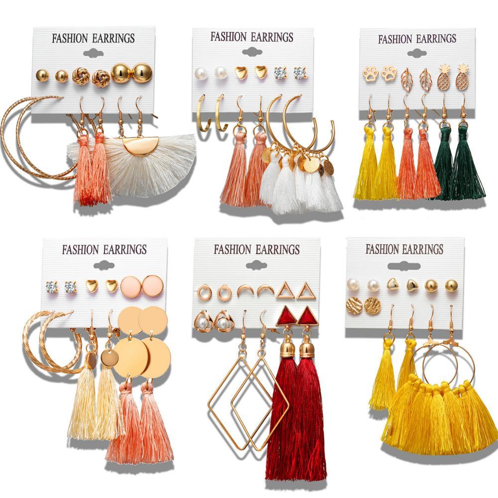 V&R 2019 hot new fashion earring jewelry boho statement earring tassel silk thread earrings for women