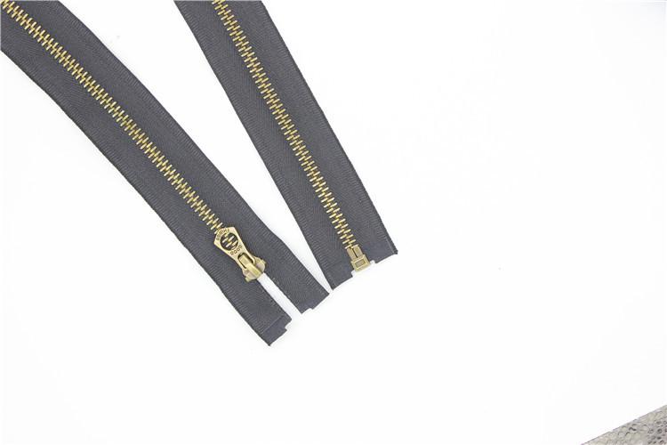 도매 맞춤 지퍼 높은 품질 내구성 금속 니켈 #5 까마귀 지퍼 오픈 엔드