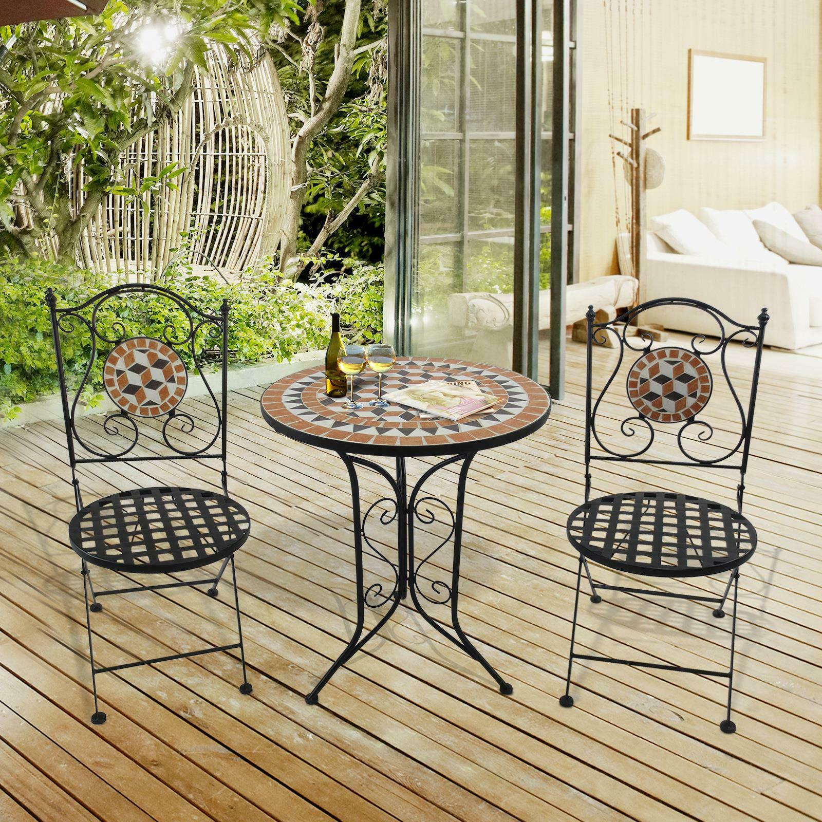 2 siège Mosaique Stylé Jardin Bistro En Plein Air Ensemble de Patio Table  Chaises Meubles NOUVEAU