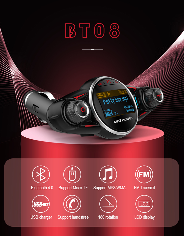 Newest Bluetooth Car FM Transmitter Audio Adapter Receiver Wireless Handsfree MP3 Player Car Kit Charger