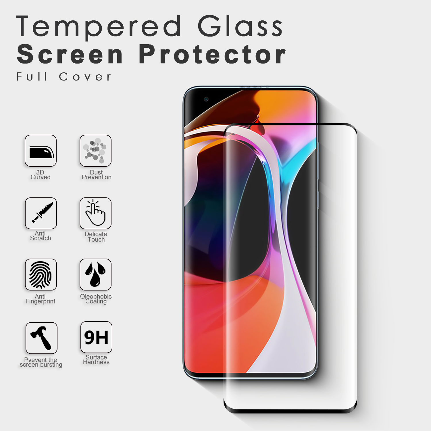 For mi 10 screen protector 9h antishock film mobile phone 3d tempered glasses screen protector for Xiaomi Mi 10