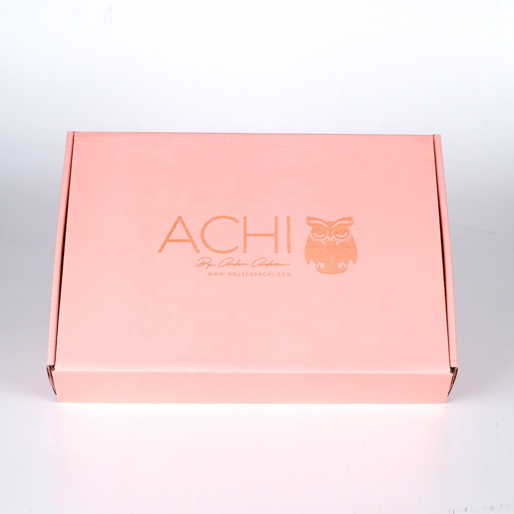 Custom pink packaging paper boxes jewelry corrugated shipping gift box