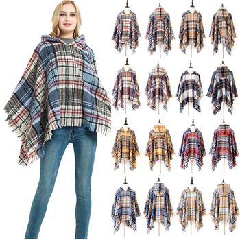 B1220 Winter Plaid PonchoTassel Shawl Scarf Vintage Wraps Cape Grid Cardigan Cloak Coat Sweater Knit Tartan Hooded Scarves