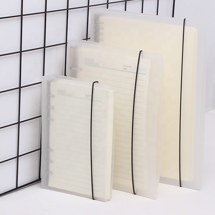Wholesale PP Transparent A3 A4 A5 A6 B5 4 6 9 20 26 30 Loose Leaf Binder Notebook Cover Ring Binder With Elastic