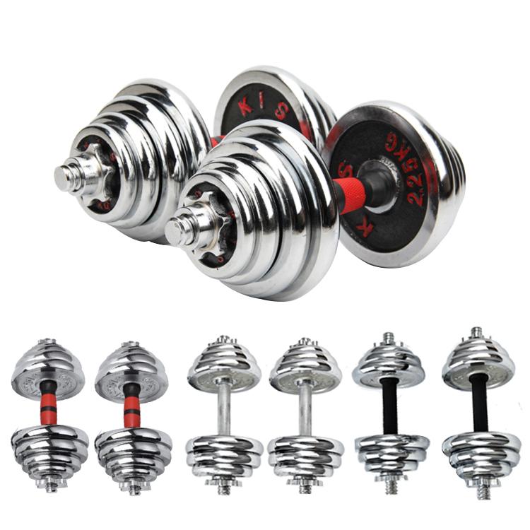 China Hot Sale  Adjustable Plating Dumbbell set weight lifting weight dumbbells chrome dumbbell set