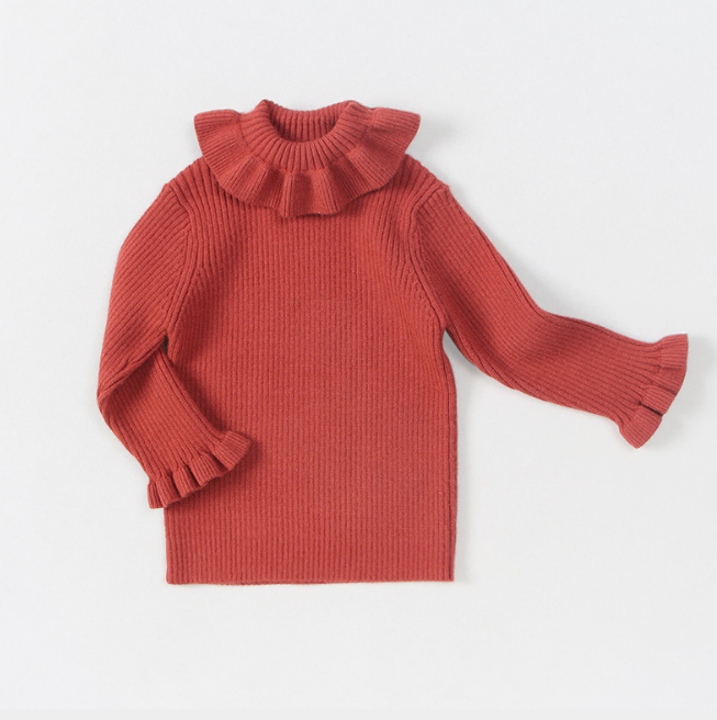 Wool Yarn Knitwear Big Ruffle Collar Design Slim Fit Custom Colors Kids Sweaters Pullover