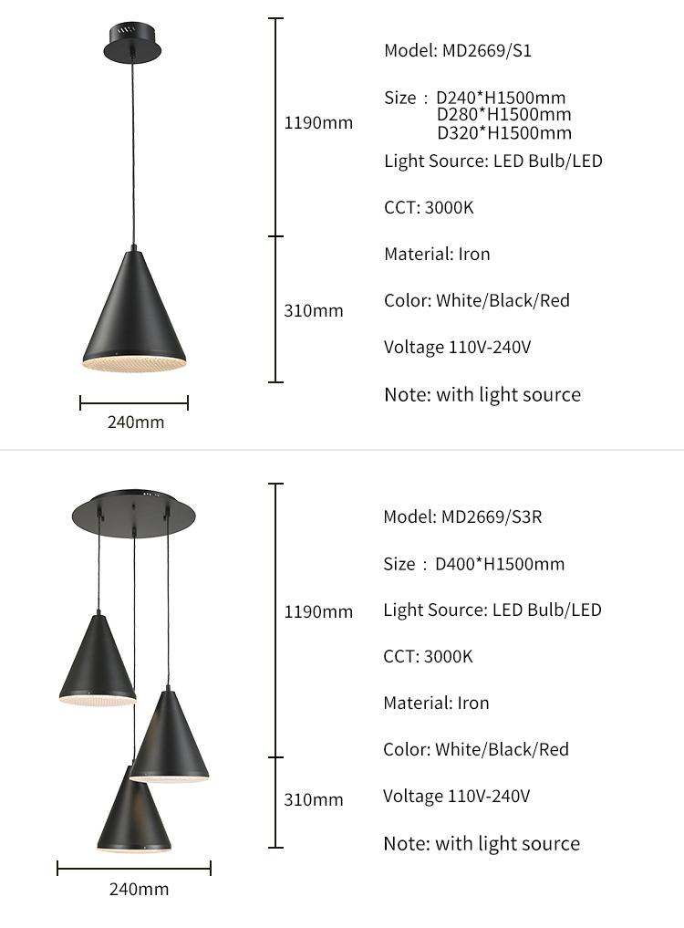 China Manufacturer Modern 20w Suspension Lighting Wire Lamp Pendant Light