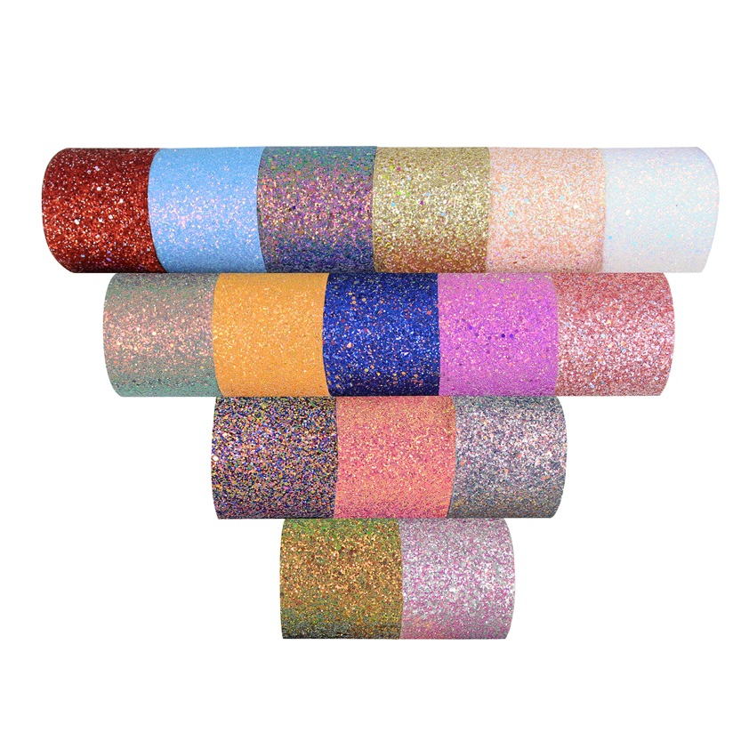 High quality fashion custom sparkle customized chunky glitter leather ribbon