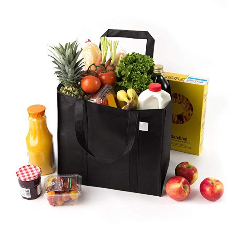 도매 주문 로고는 휴대용 재사용 슈퍼마켓 식료품 쇼핑 비 짠 가방