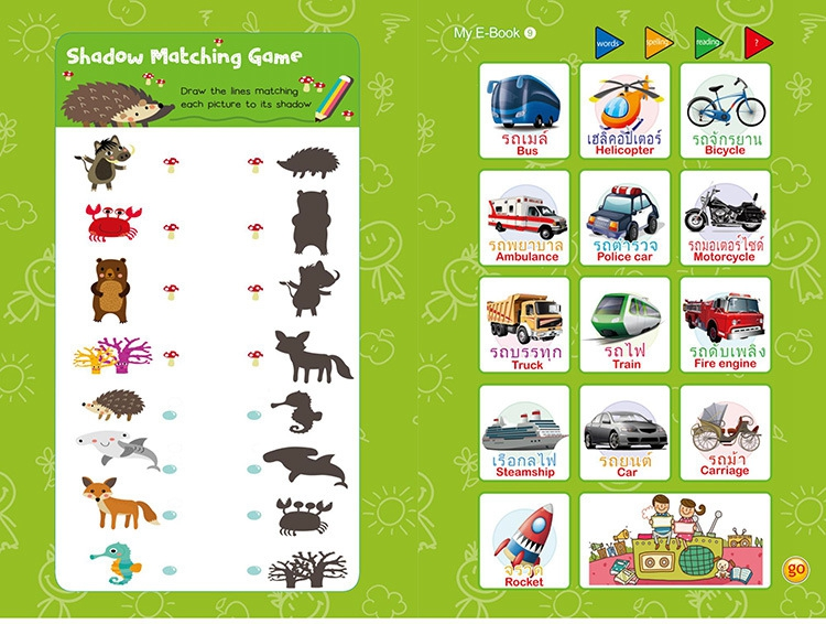 new arrival kids early educational Bilingual Thai & english kids books educational baby toy book
