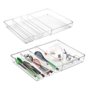 4 Compartment Cabinet Adjustable Expandable Kitchen Drawer Organizer Tray