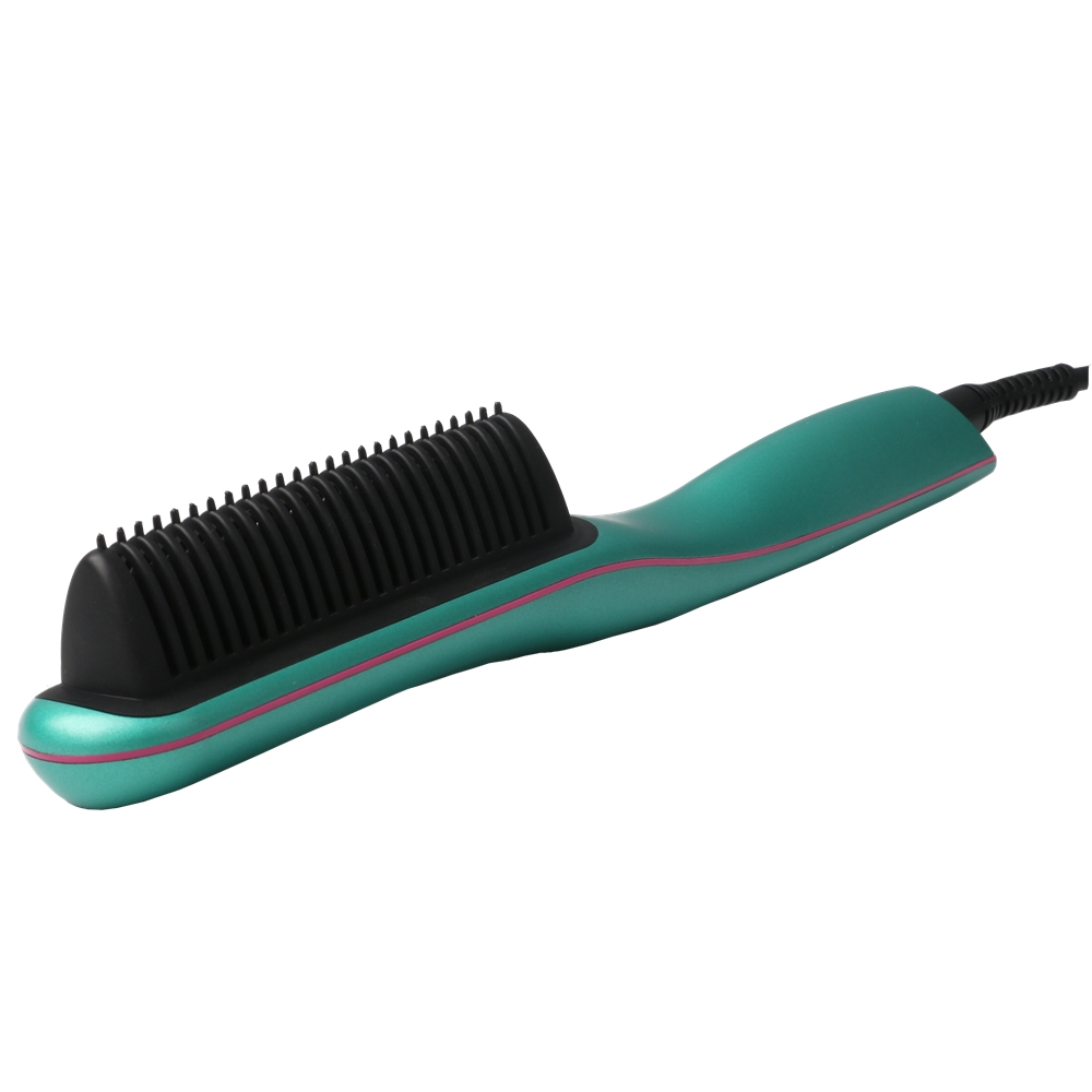 निजी लेबल डिजिटल एलसीडी बाल Straightener कंघी तेजी से गरम बिजली ब्रश पीटीसी चीनी मिट्टी की परत