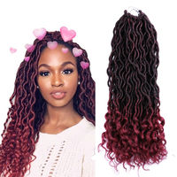 Synthetic Hair Extension Curly Weave 18 inch Goddess Faux Locs,Synthetic Pre Twisted Hair Soft Dread Lock Twist Braid Hair