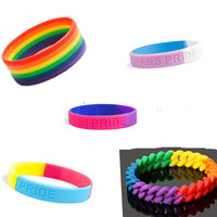 factory custom lgbt flag color gay pride silicon rubber rainbow bracelet