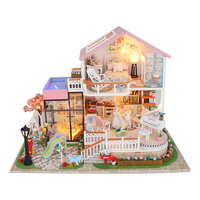 Wooden miniature dollhouse hot sale wooden toys colorful doll house wood kids toys garden