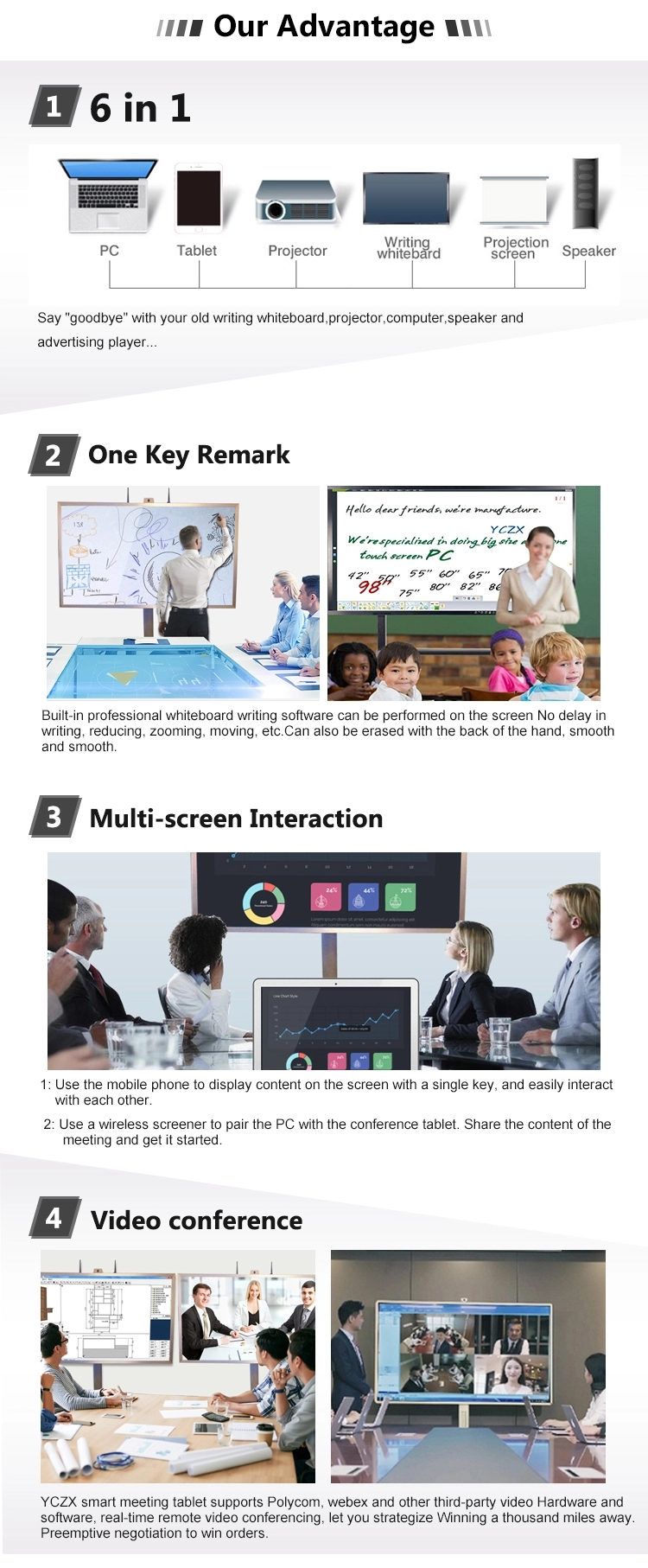 interactive portable whiteboard 65inch 75inch education use smart class board price