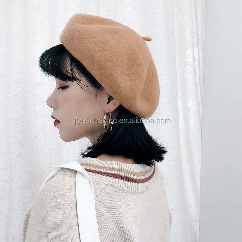Winter female woolen beret autumn wool hat