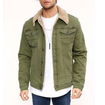 Army green warm jean jacket with fur denim jackette for men sherpa winter jaket chaquetas hombre heated jacket