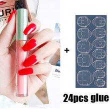 Nusx 24 шт., блестящие Длинные накладные ногти, полное покрытие, в форме гроба, цветные накладные ногти, красота, наклейки для ногтей с желейным ...(Китай)