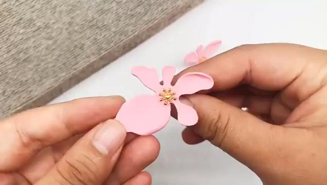 Pureสไตล์ยุ้ยต่างหูดอกไม้สีชมพูกลีบอารมณ์ผู้หญิง