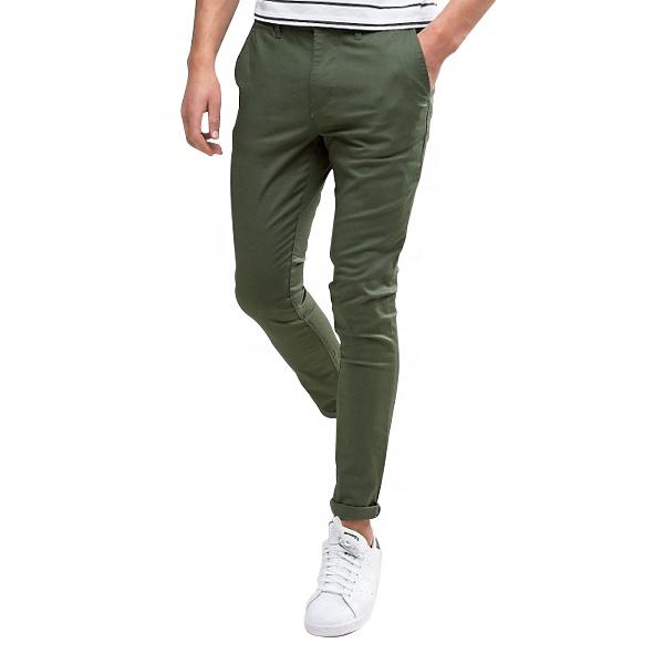 Servizio DELL'OEM twill di cotone skinny fit chino pantaloni uomini in khaki
