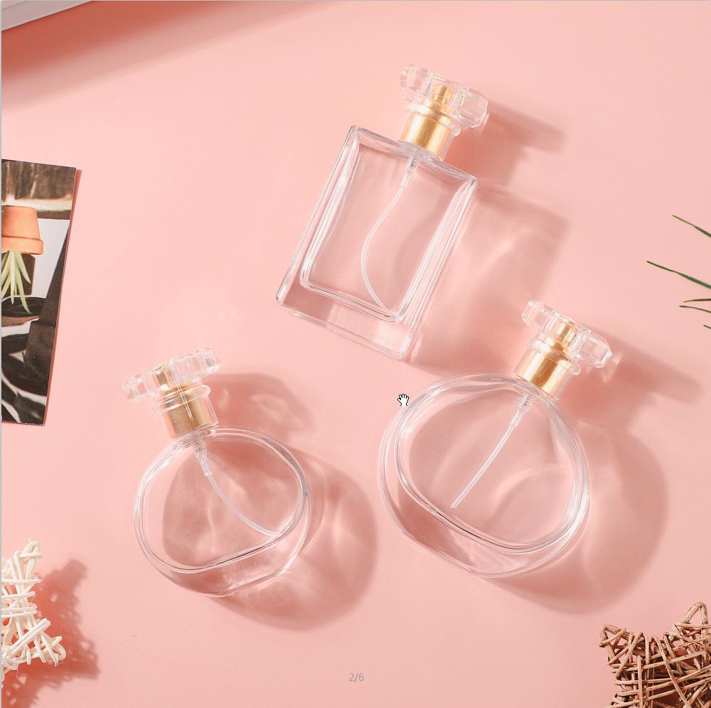 Amostras grátis 30 ml 50 ml Praça Retangular Embalagem Spray de Perfume Garrafa de Vidro