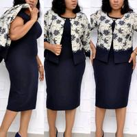 KXL98102 Plus size 2 pcs set floral african print offical work formal women dresses and jacket Clothes