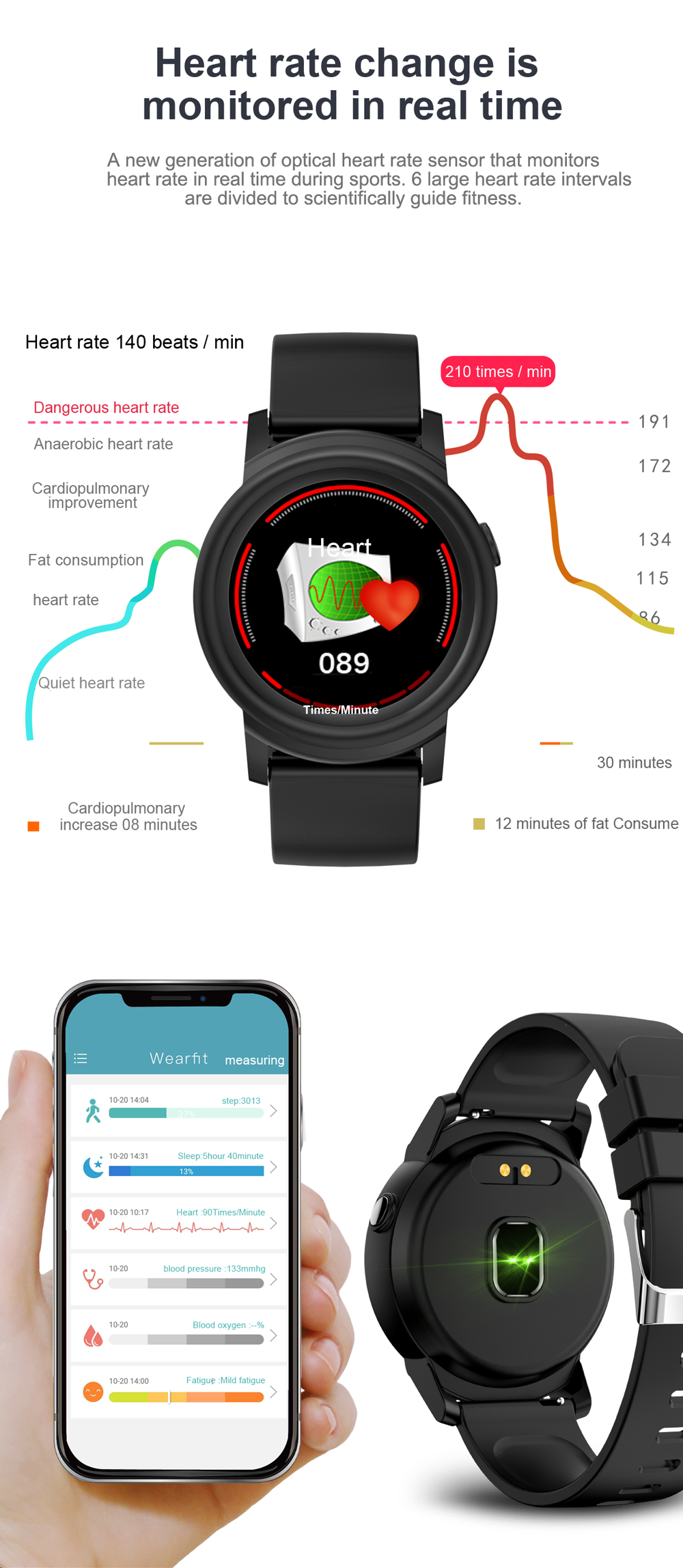 2020 High-end IP67 Waterproof Bluetooth Sports Health Heart Rate Pedometer Fitness Smart Wrist Band Watch Phone Bracelet