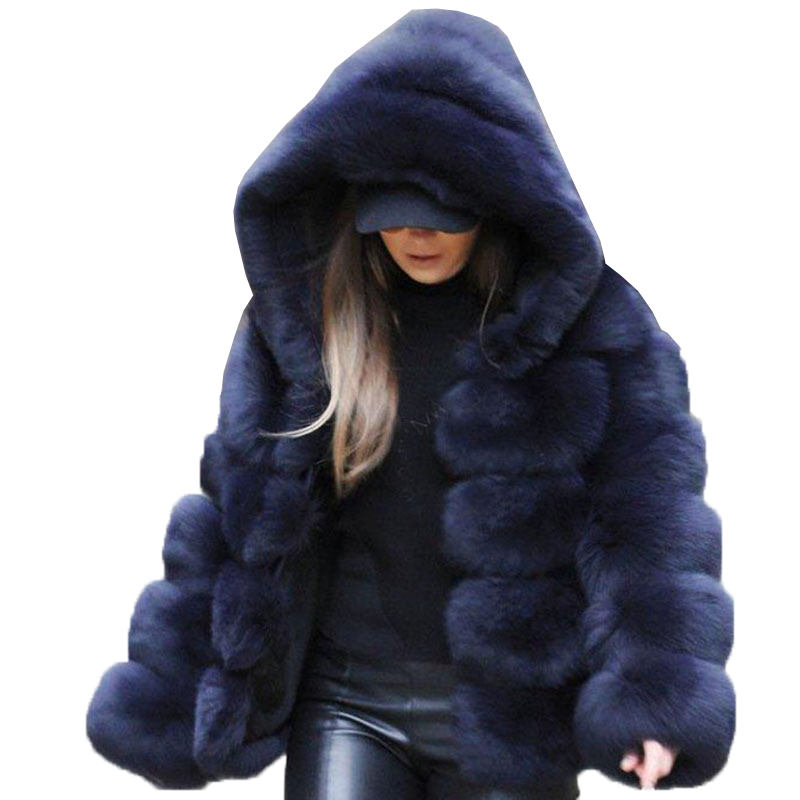 New <strong>Fashion</strong> Short Ladies <strong>Winter</strong> <strong>Coats</strong> Cropped Hood Women Faux Fox Fur Jacket <strong>Coats</strong>