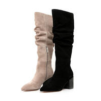 Hot Selling Fashion Women'S Cow Suede Slouch Knee High Heel Boot Elegant Shoes Slim Ladies Boots