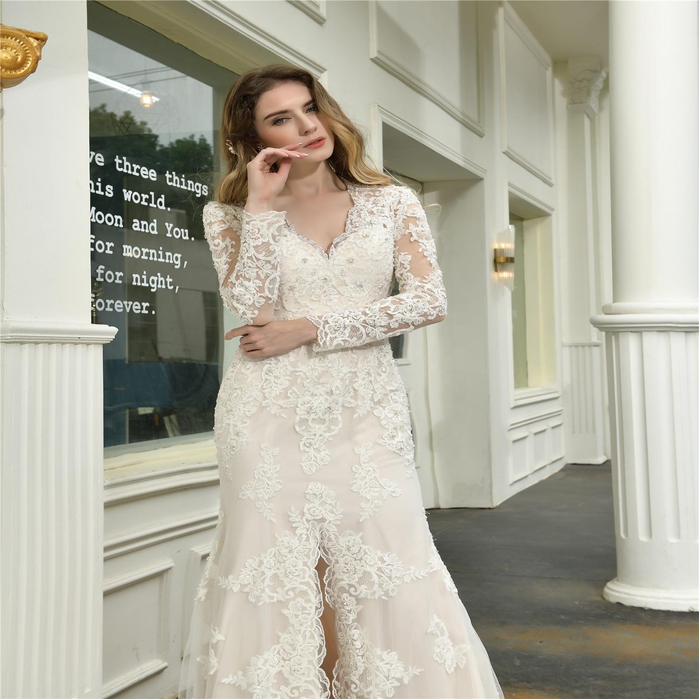 2020  lace mermaid wedding dress long sleeve bridal wedding gowns belt long train suzhou wedding dresses vestidos de novia
