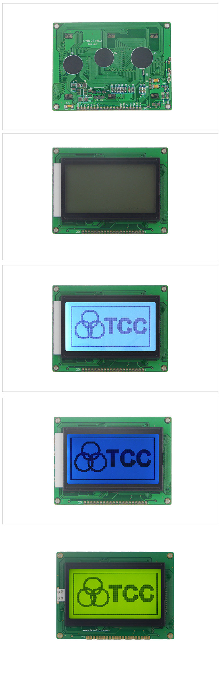 TCC shenzhen 12864 STN/Positive display screen module 3.3v ST7920 20pin 128x64 graphic lcd