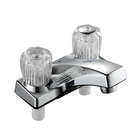 Grosna Two Acrylic Handle Centerset Lavatory Faucet with Plastic Pop Up Drain - Chrome