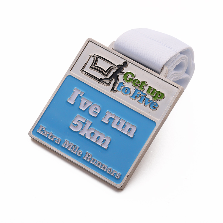 Factory custom silver soft enamel  marathon sports extra mile running  medals for 5km