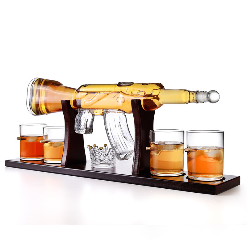 800ml Rifle Gun Shaped Spirits Whiskey Gin Vodka Tequila Rum Glass Bottle for Packaging