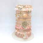 Pink Color Combination Bracelets bangles beads handmade from agate alloy natural stone pendants chars shell anchor Eiffel Towel