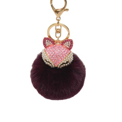 Multi color Pom <strong>Ball</strong> Handbag Faux Rabbit <strong>Fur</strong> Fluffy crystal Car <strong>Fox</strong> Pendant Rabbit <strong>Keychain</strong>