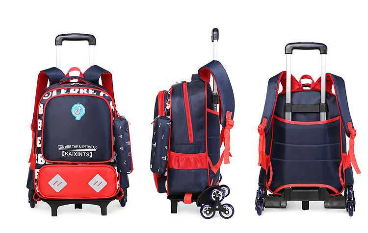 Removable children backpack trolley luggage kids school wheel bags