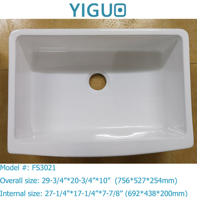 Fireclay / Ceramic rectangular shape white color and apron front installation tpye farmhouse sink # 2416-285K