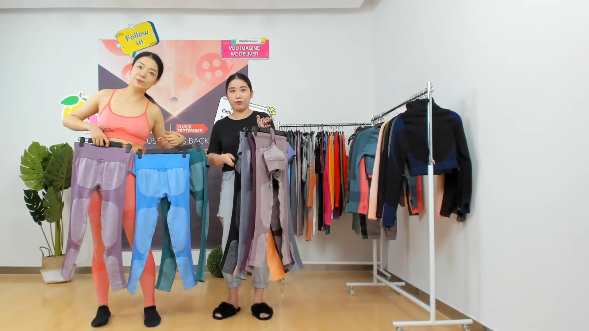 Squat a prova di colorate di alta compressione di fitness vestiti delle donne a vita alta senza soluzione di continuità delle ghette di yoga