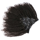 Afro Kinky Curly Clip Ins 100% Virgin Human Hair Extensions 7pcs Per Set Natural Color Afro Curly Hair