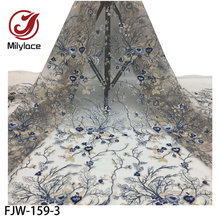 3D Flower Sequins Lace Fabric Net French Tulle Lace Fabric High Quality Nigerian Lace Fabric for Wedding Dress FJW-159(Китай)