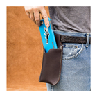 Hot Sale Fanny Pack Black Leather phone wallet pocket phone sleeve Belt Holster Card Holder for Apple Iphone Samsung
